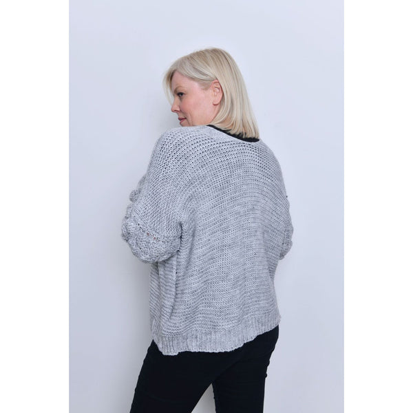 Grey Puff Sleeve Open Front Cardigan