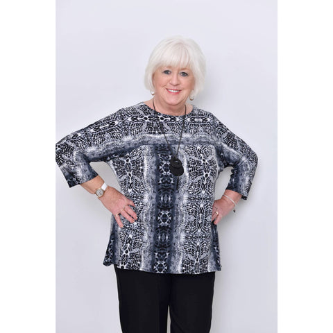 Saloos - Print Long Sleeved Top With Necklace