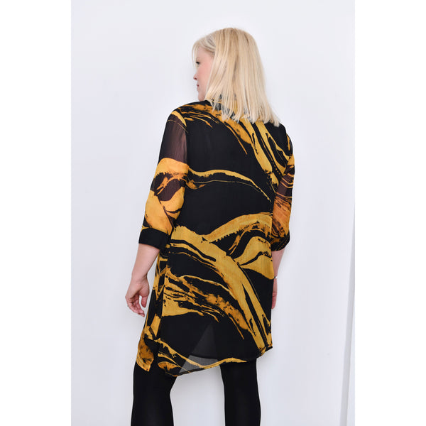 Saloos - Yellow Sheer Print Shirt Dress