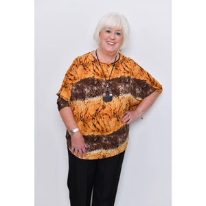Saloos - Print Long Sleeved Top With Matching Necklace