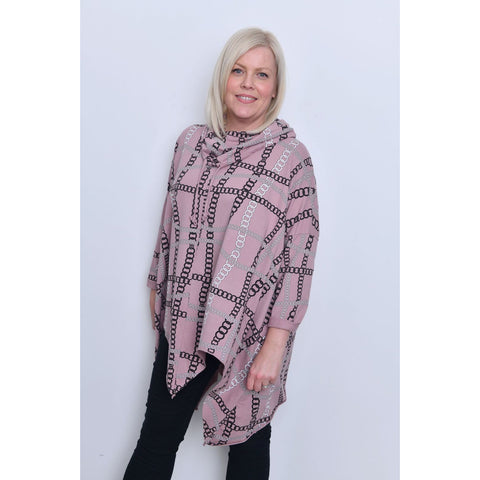 Chain Print Cowl Neck Tunic - Pink