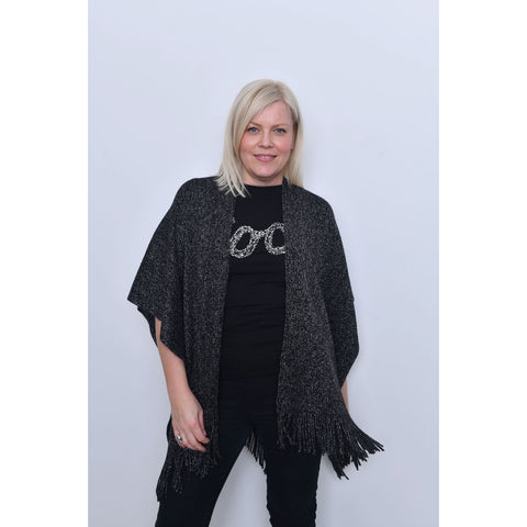Black Sparkle Poncho Wrap