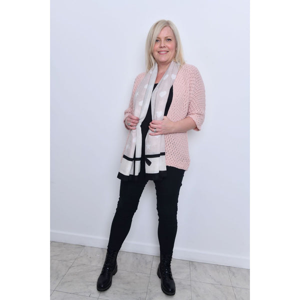Pink Waffle Open Front Cardigan
