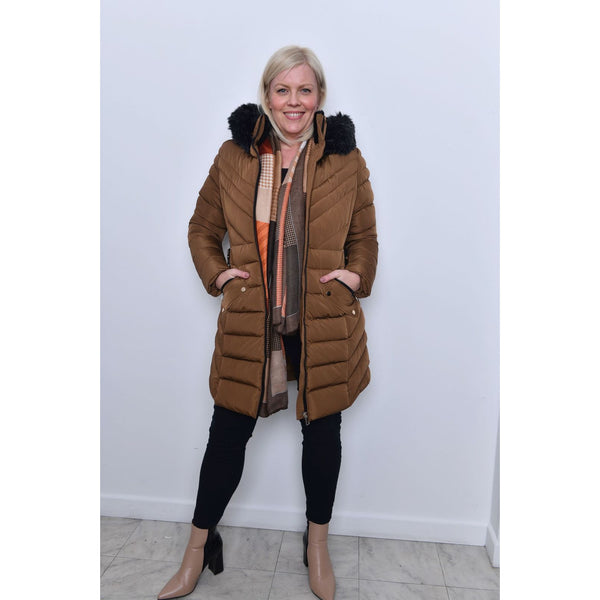 Padded Belted Jacket - Tan