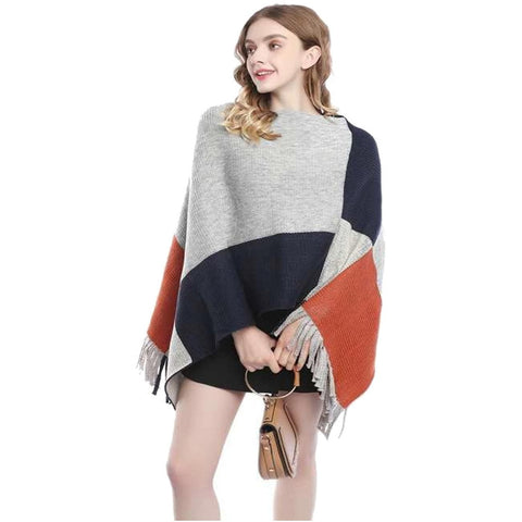 Grey Colour Block Poncho Wrap - Kirkwood of Scotland
