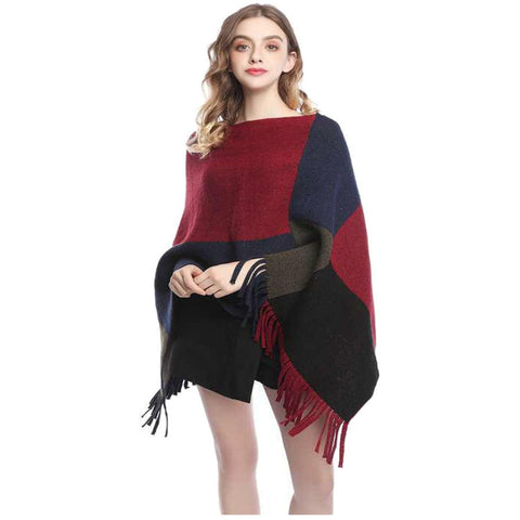 Red Colour Block Poncho Wrap - Kirkwood of Scotland