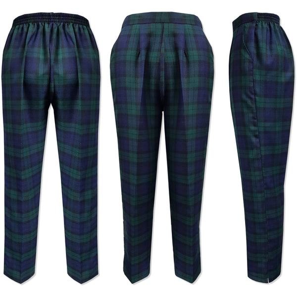 Black Watch Tartan Half Elasticated Trousers - Kirkwood of Scotland
