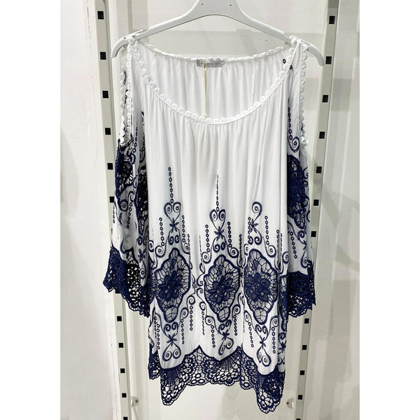 Cold Shoulder Lace Top - Kirkwood of Scotland