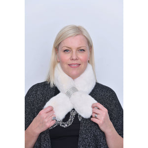 White Faux Fur Diamante Detail Collar