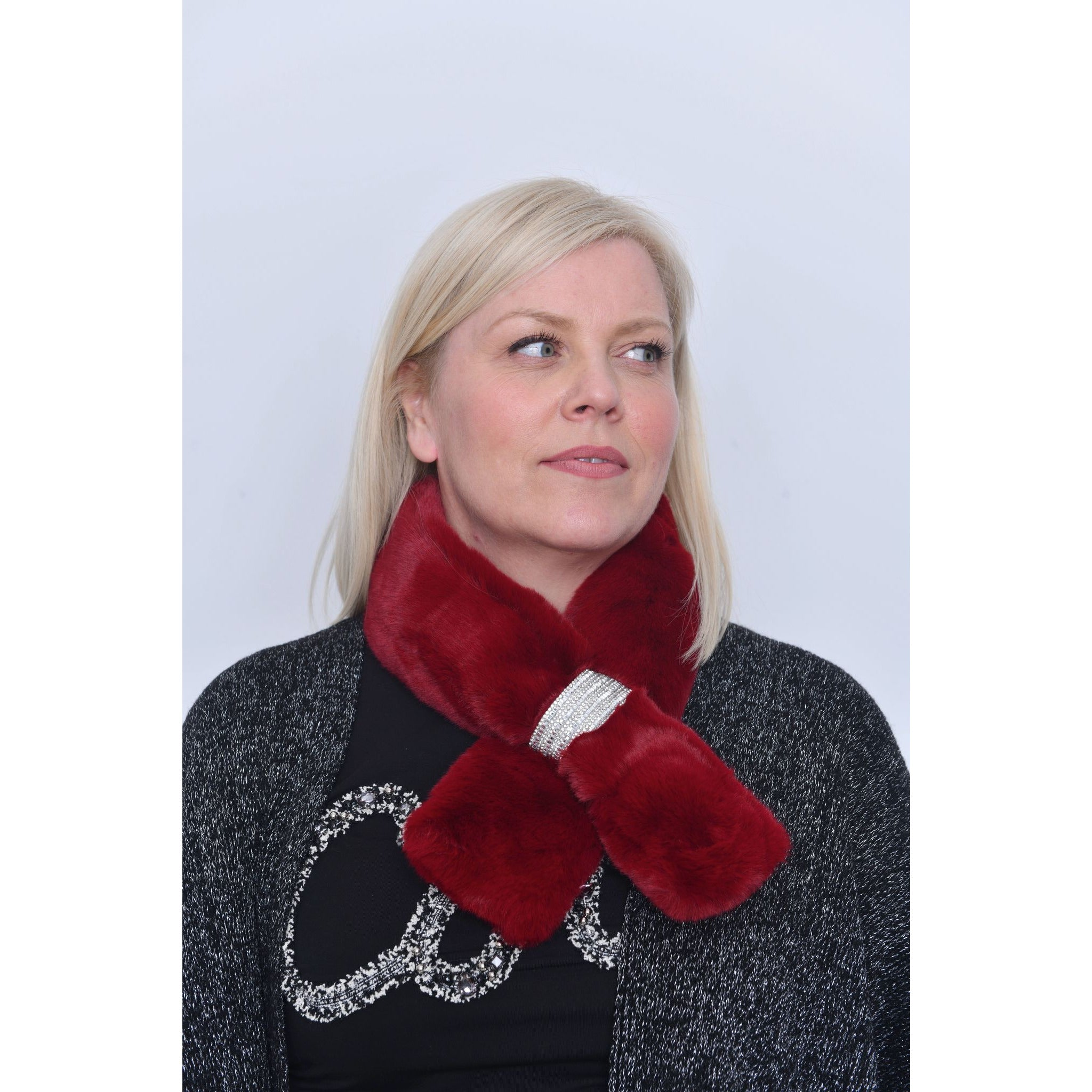 Red Faux Fur Diamante Detail Collar