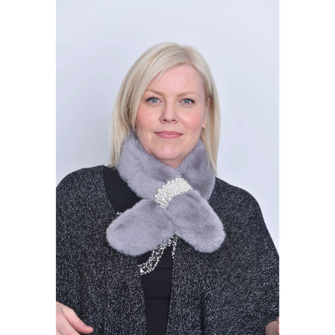 Grey Faux Fur Pearl Detail Collar