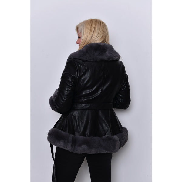 Long Length Fur Trim Leather Jacket