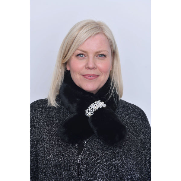 Black Faux Fur Pearl Detail Collar