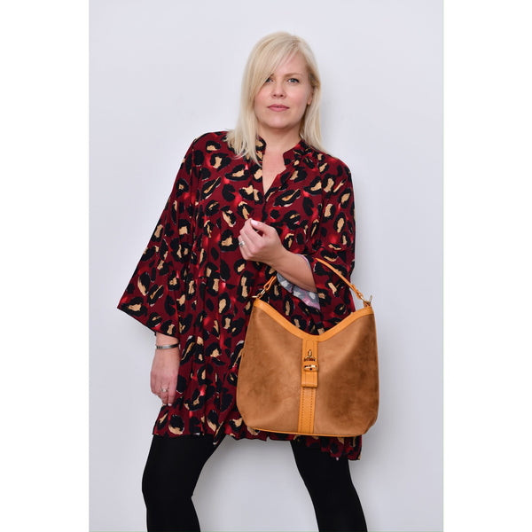 Red/Mustard Leopard Print Smock Dress