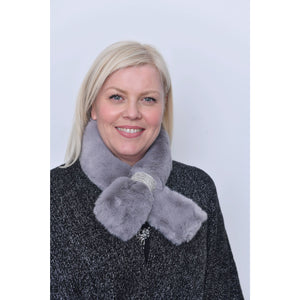 Grey Faux Fur Diamante Detail Collar