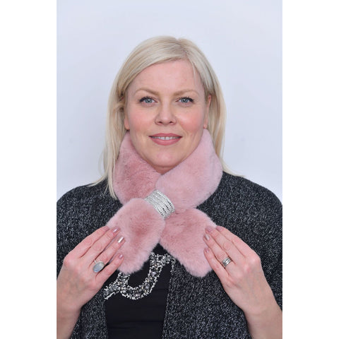Pink Faux Fur Diamante Detail Collar