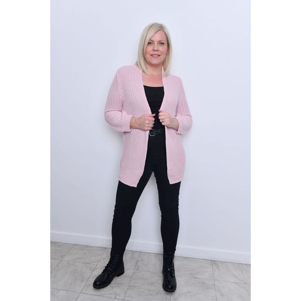 Pink Open Front Cardigan