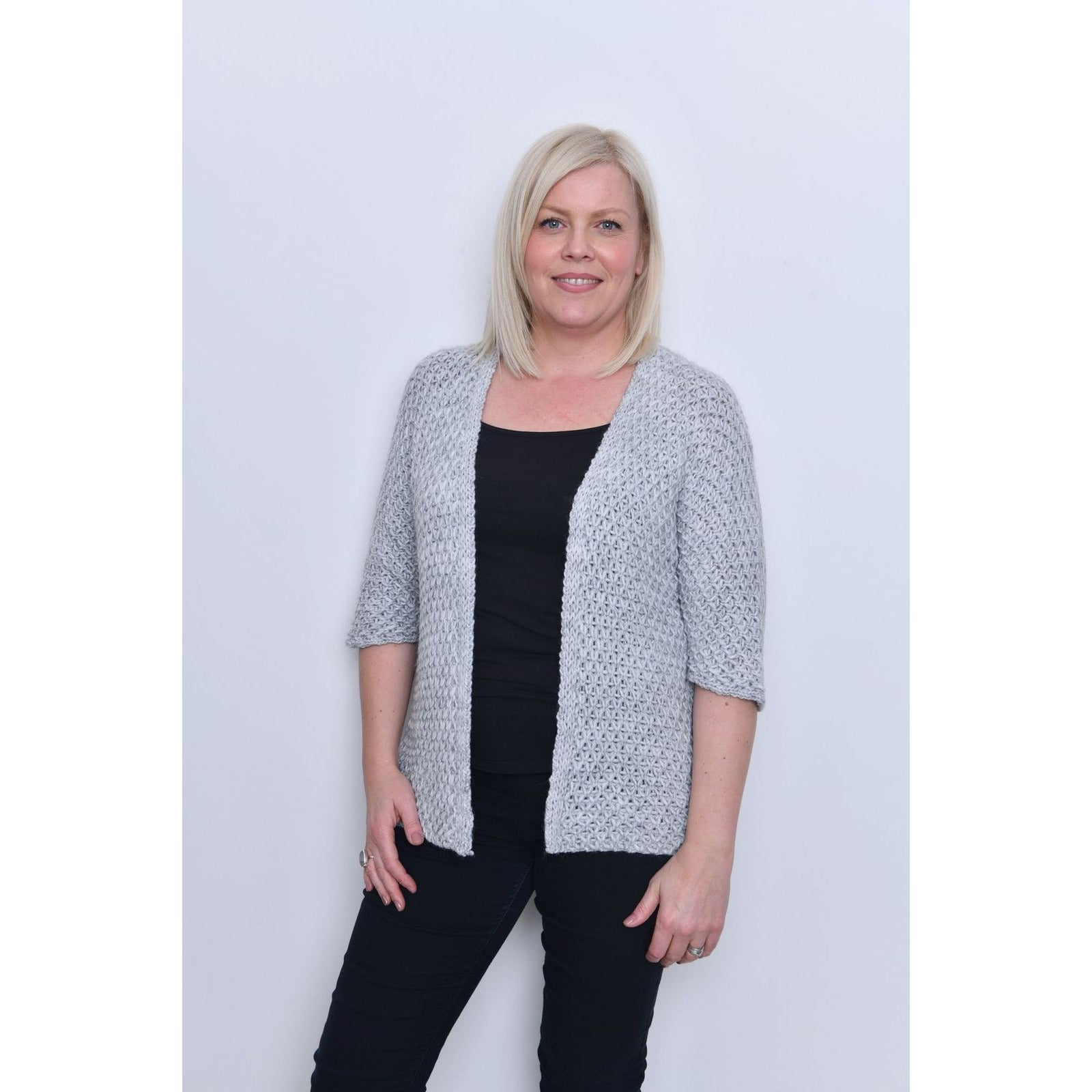 Grey Waffle Open Front Cardigan