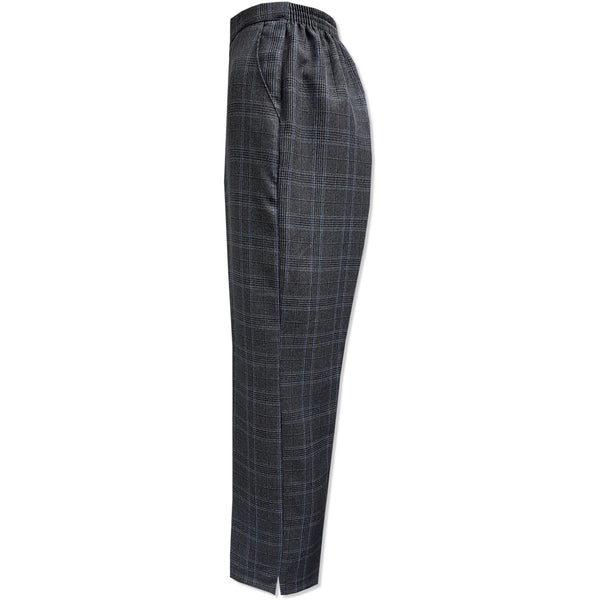 Grey Blue Check Half Elasticated Trousers - Kirkwood of Scotland