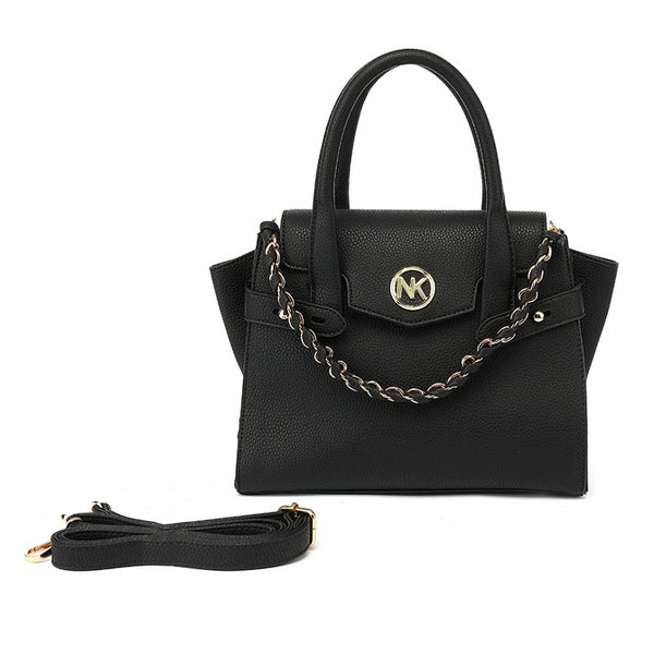 Black winged tote bag with long strap back zip pocket