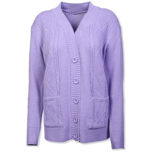 Lilac Cable Knit Cardigan - Kirkwood of Scotland
