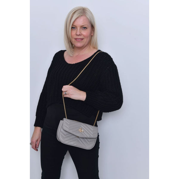 Grey Bumblebee Quilted Shoulder Bag
