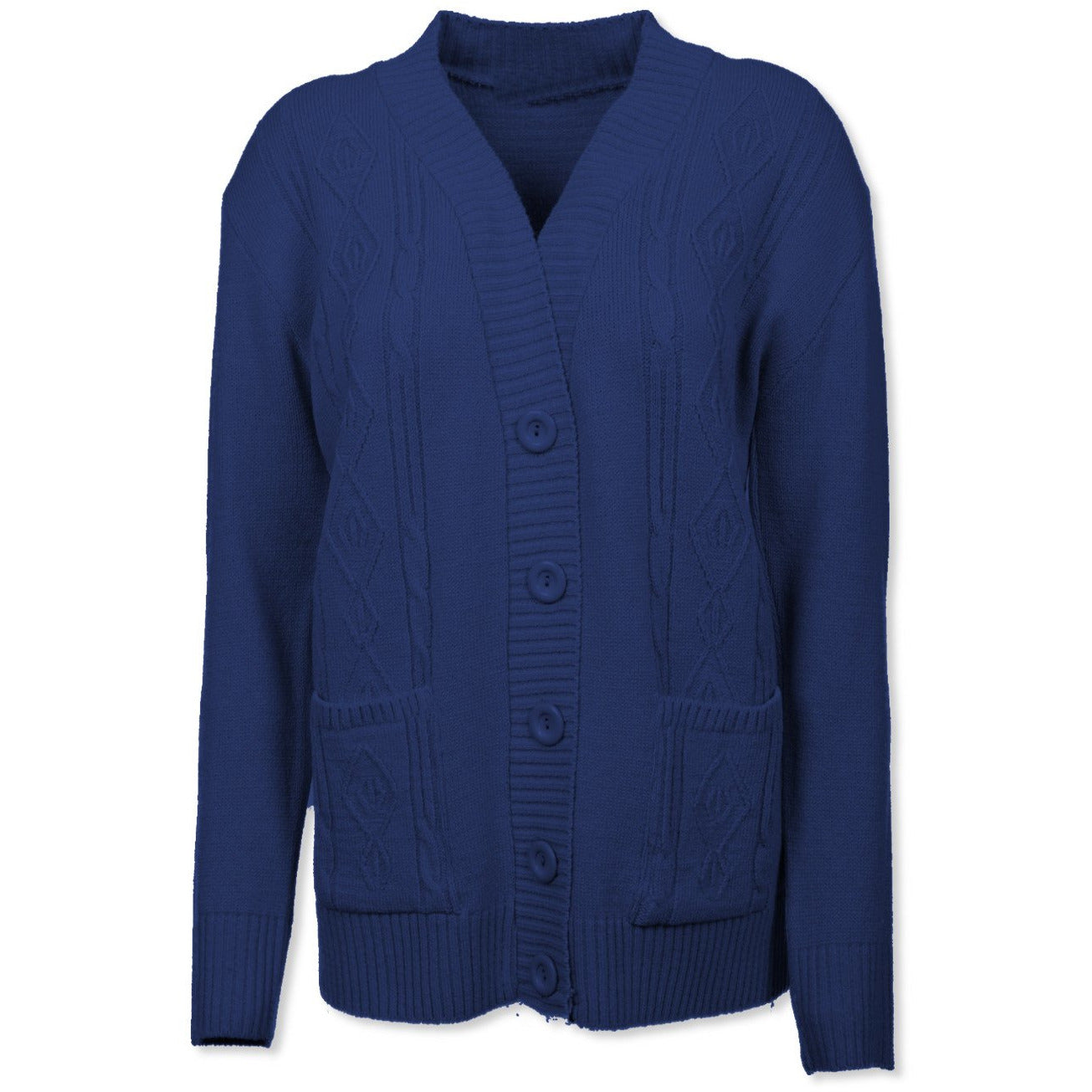 Navy Cable Knit Cardigan - Kirkwood of Scotland