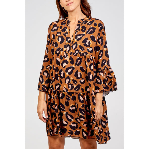 Brown/Black Leopard Print Smock Dress