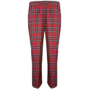 Red Tartan Half Elasticated Trousers - Kirkwood of Scotland