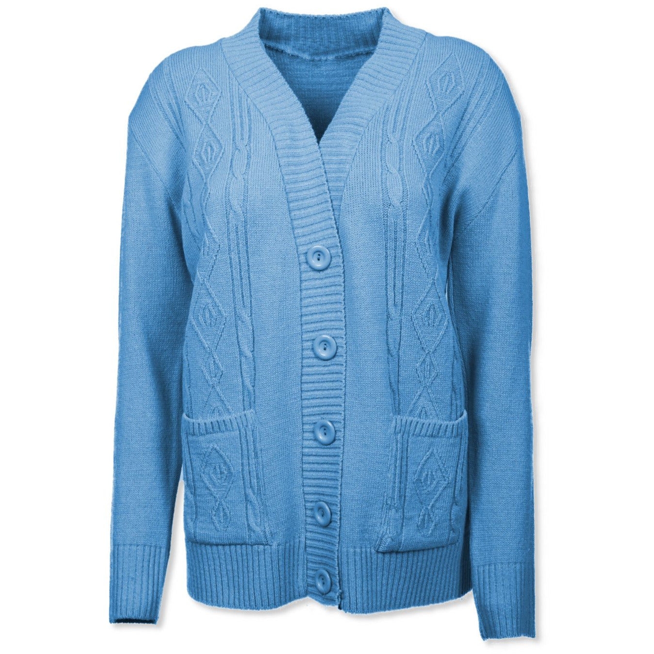 Sky Blue Cable Knit Cardigan - Kirkwood of Scotland
