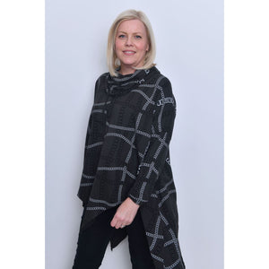 Chain Print Cowl Neck Tunic - Grey