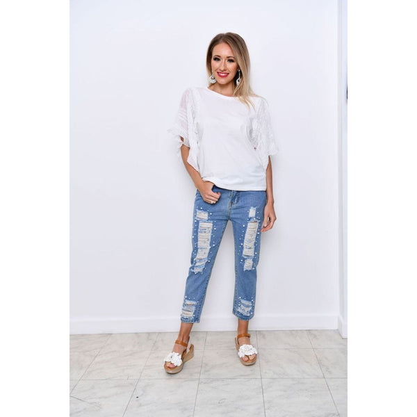 Crop Ripped Pearl Detailed Jeans