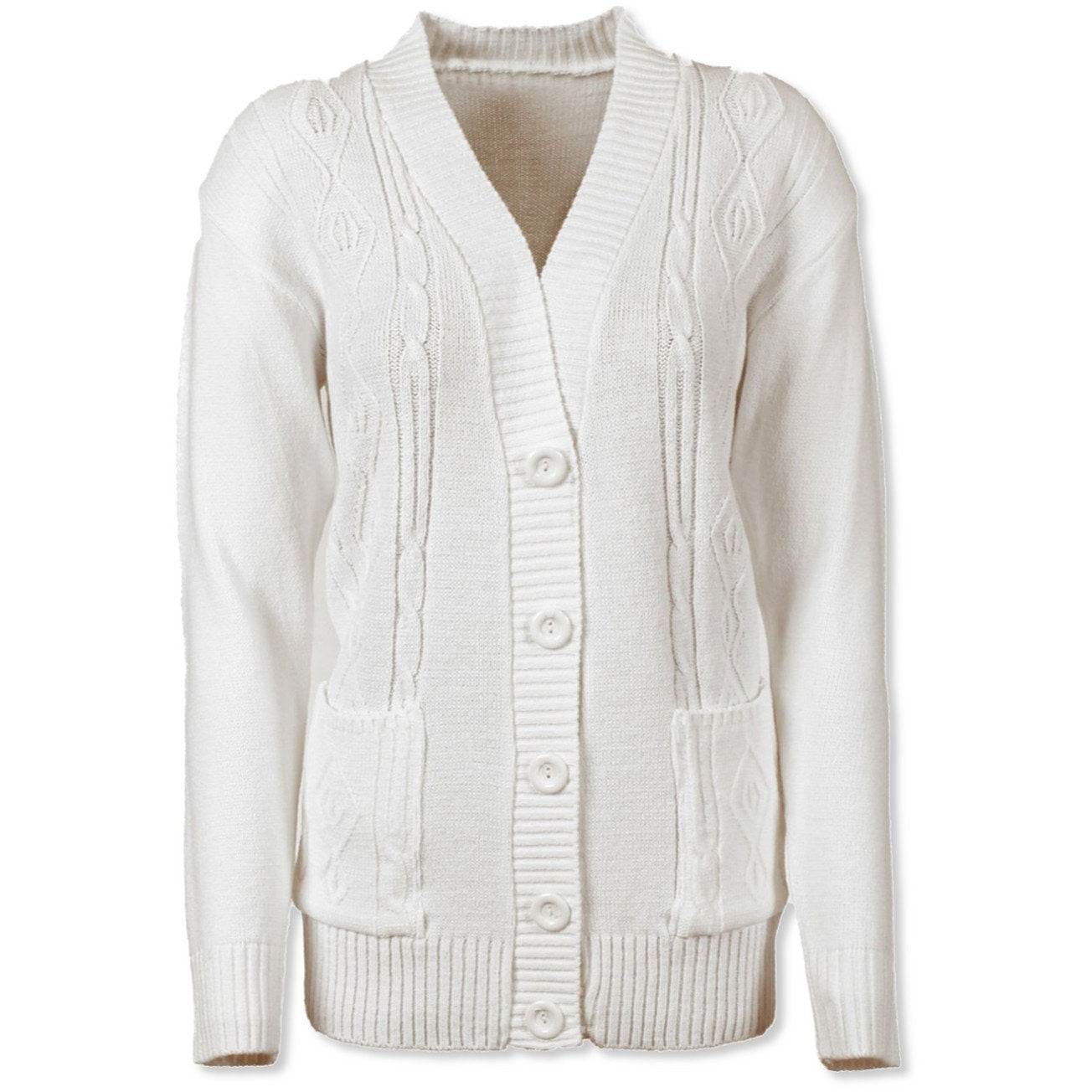 White Cable Knit Cardigan - Kirkwood of Scotland