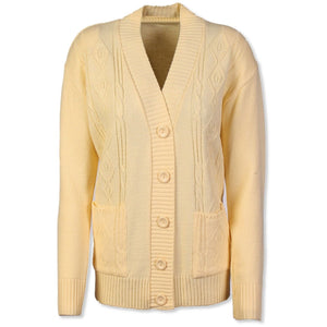 Lemon Cable Knit Cardigan - Kirkwood of Scotland
