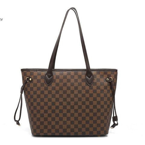 Brown Check Neverfull Tote Bag With Clutch