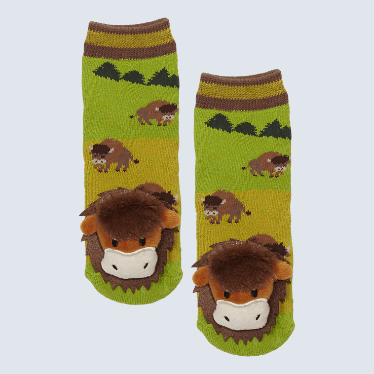Two socks against a white background. The socks feature bison grazing in a field and a cute plush bison on each toe.