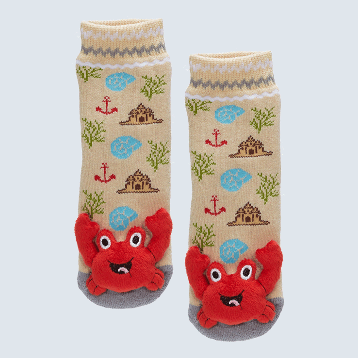 Two socks against a white background. The socks feature a cute plush lobster charm on each toe.