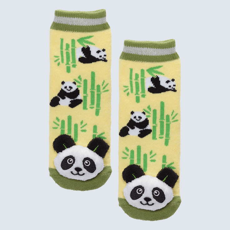 Two socks against a white background. The socks feature a bamboo motif and a plush panda bear charm on the toe.