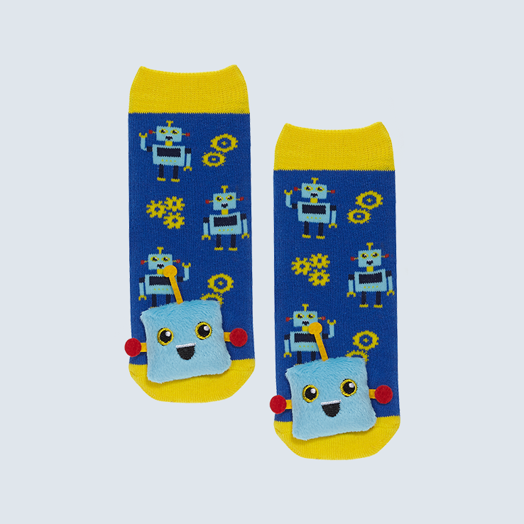 Two yellow and blue socks against a white background. The socks feature a cute robot charm on the toe.