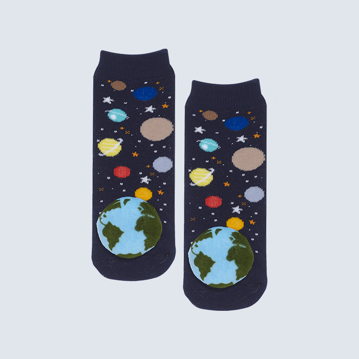 Two socks against a white background. The socks feature a space motif and a cute plush earth charm on each toe.