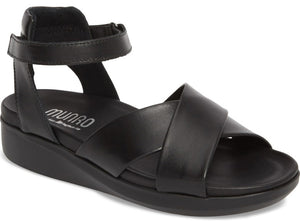 Munro Brinn Black Leather Sandal (Women)
