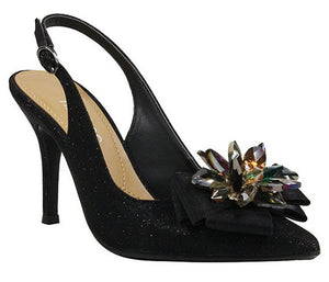 J. Renee Denyell Black Glitter Pump (Women)