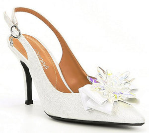 J. Renee Denyell  White Silver Fabric Pump (Women)