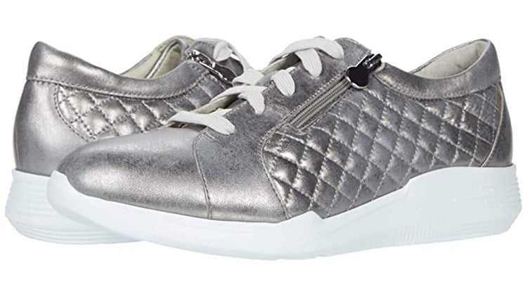 Munro Emmie Metallic Grey Leather Sneaker (Women)