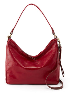 Beautiful red Hobo Delilah handbag in leather.