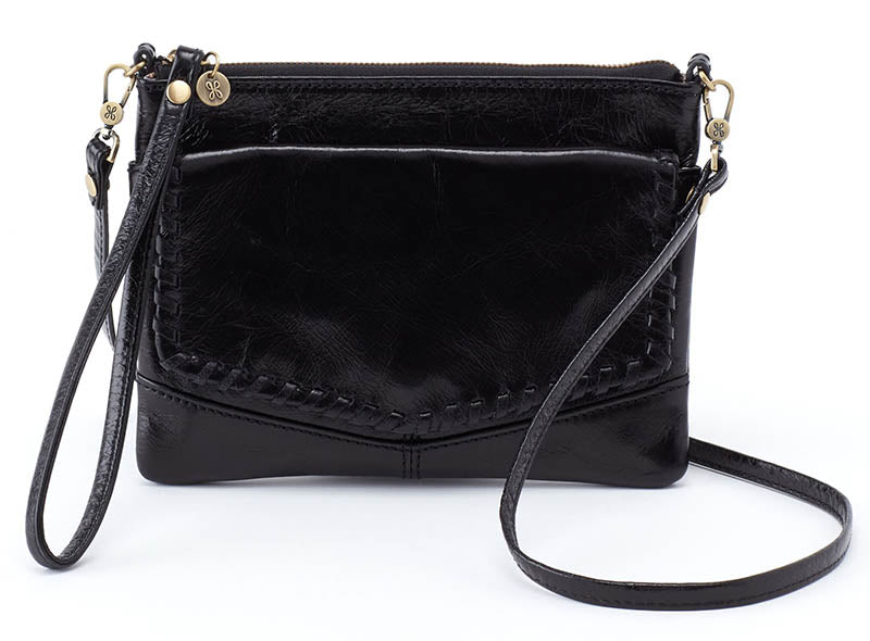 Hobo Stroll Black Leather Crossbody Handbag (Women)
