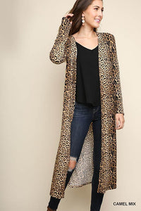 Umgee Jaguar Print Long Body Cardigan (Women)