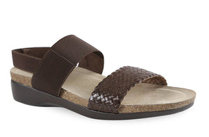 The Munro American Pisces is made of leather and fabric on a cork/latex combination footbed with a XL Ultralite outsole. The EU styled footbed sandal is shock absorbent, flexible and slip resistant.  Heel height is approximately 1.5 inches.