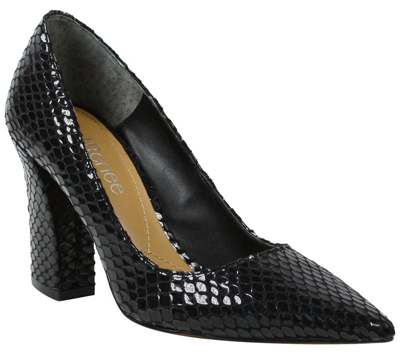 J. Renee Quorra Black Snake Print Pump (Women)