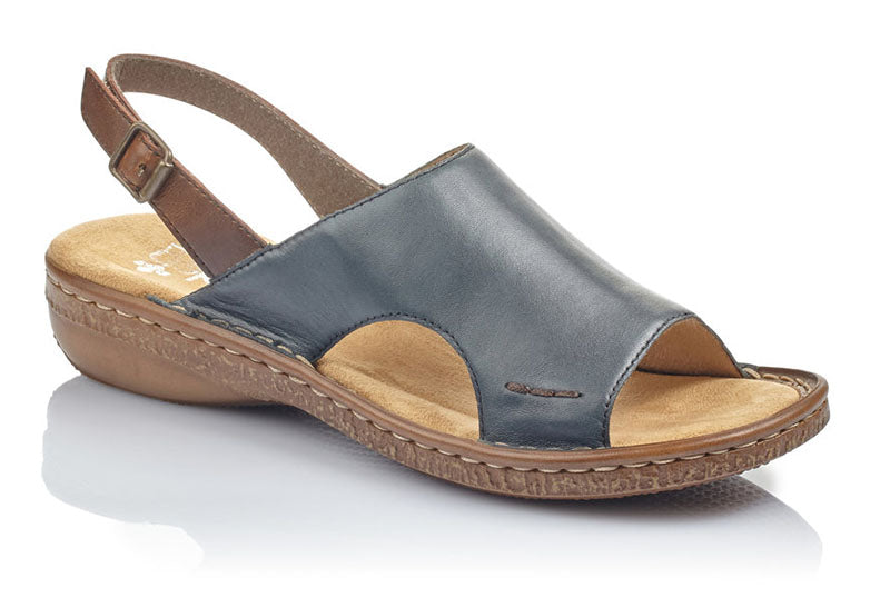 Rieker Regina C5 Blue/Brown Leather Sandal (Women)